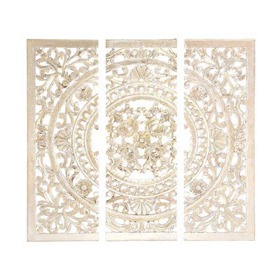 3 Piece Wood Wall Decor Set With Images Carved Wood Wall Art