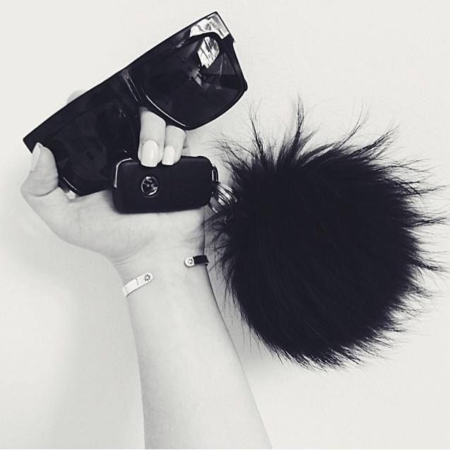 Sunglasses and fluff..Keep it chic with our Black pom pom keyring!