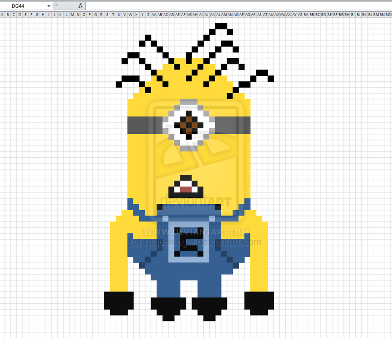 Minion Made In Excel By Raquelsegal On Deviantart Minions How To Make Cross Stitch