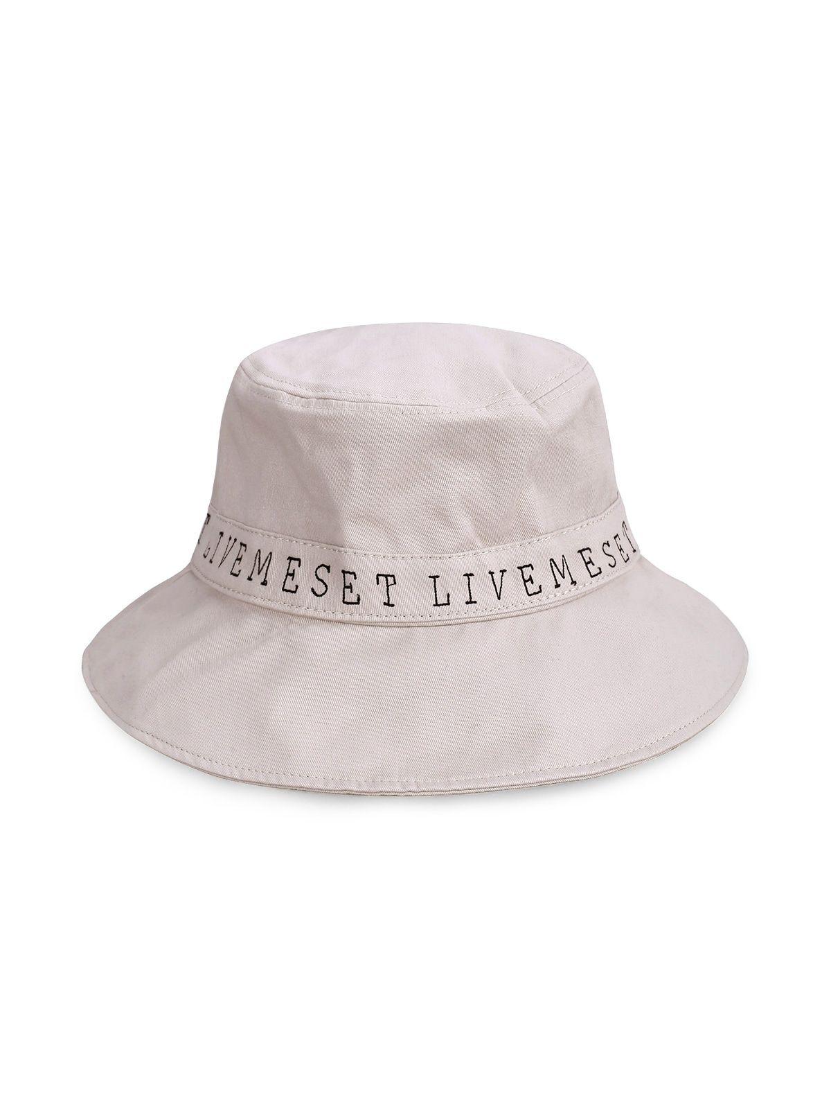 Plain Letter Print Bucket Hat Beige Black Light Khaki Yellow Letter Prints Beige Hat Types