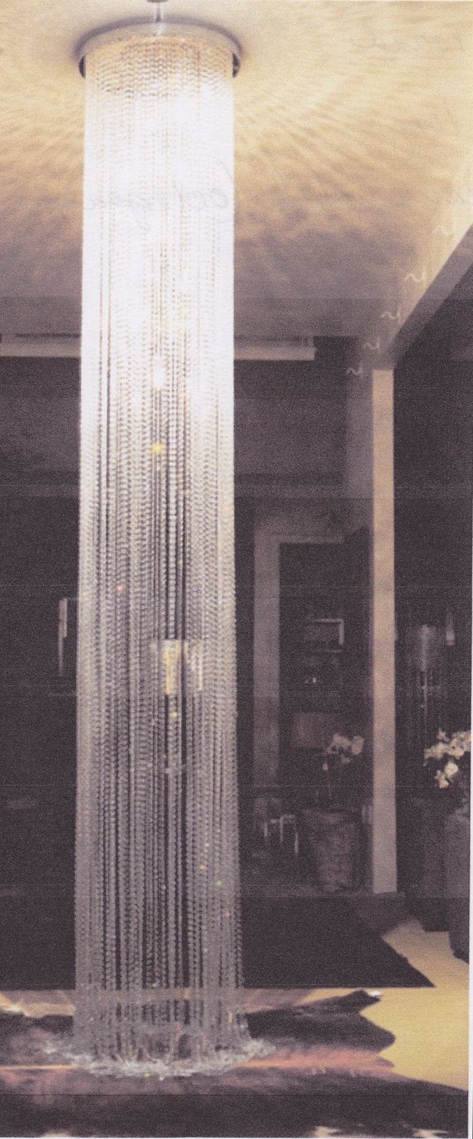 Am6000c Long Crystal Glass Waterfall Shower Chandelier 8ft 12ft