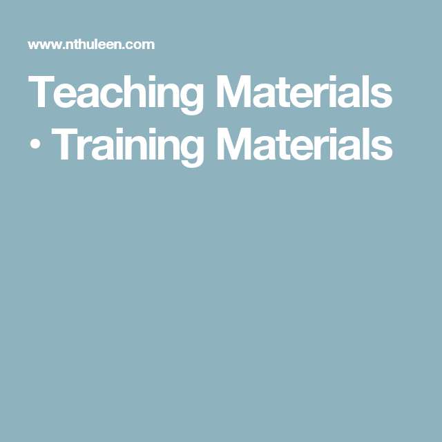 Teaching Materials Training Materials Unterrichten Deutsch Lernen Lehrmaterial