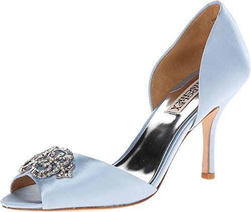 Womens Shoes Badgley Mischka Salsa Light Blue Satin