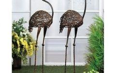 Outdoor Figures For The Garden Flamingo Cast Iron Garden Art Duo Outdoor  Figures Statues Backyard