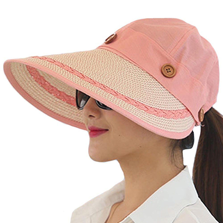 Women s Summer Beach Travelling Sun Hat UV Wide Brim Visor Caps - Pink -  C712IKQNOG9 - Hats   Caps 97cce542b04