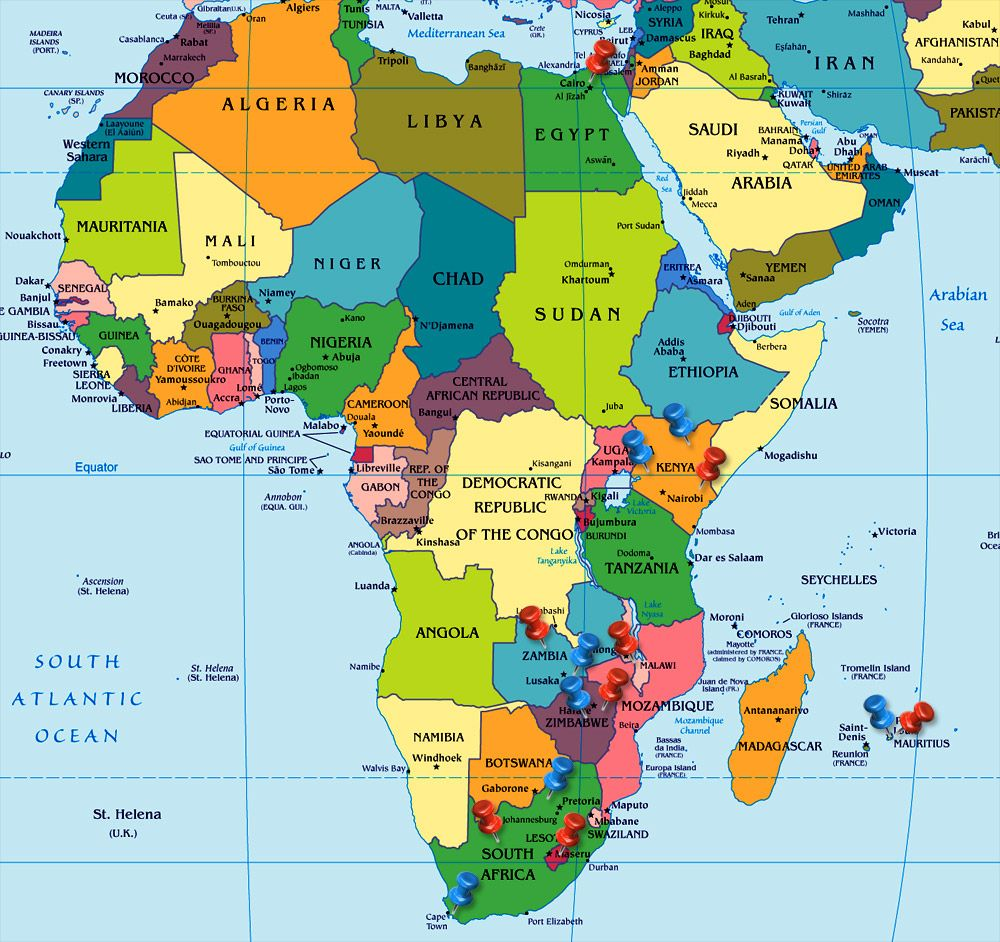 Political Map Of Africa Continent Showing All The Countries - Map of the world with countries labeled