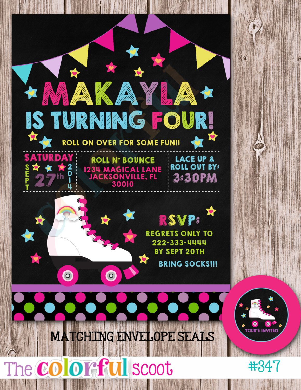 Roller Staking Birthday Invitation by TheColorfulScoot on Etsy ...