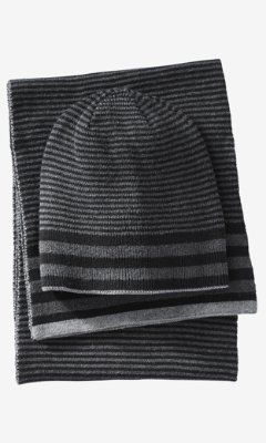 REVERSIBLE SCARF AND BEANIE SET from EXPRESS
