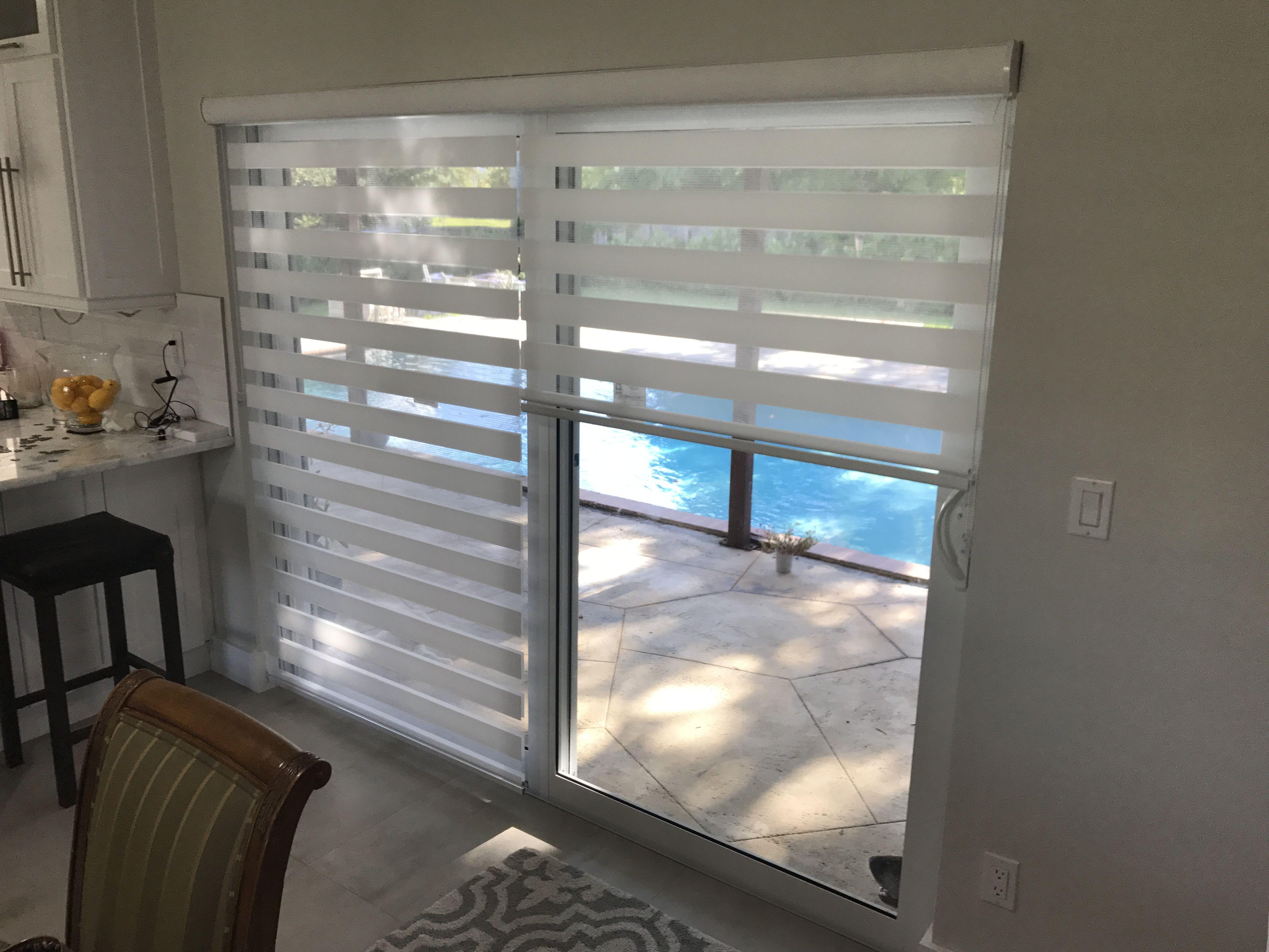 Zebra Illusion Privacy 2in1 Shades On Sliding Door Patio Door