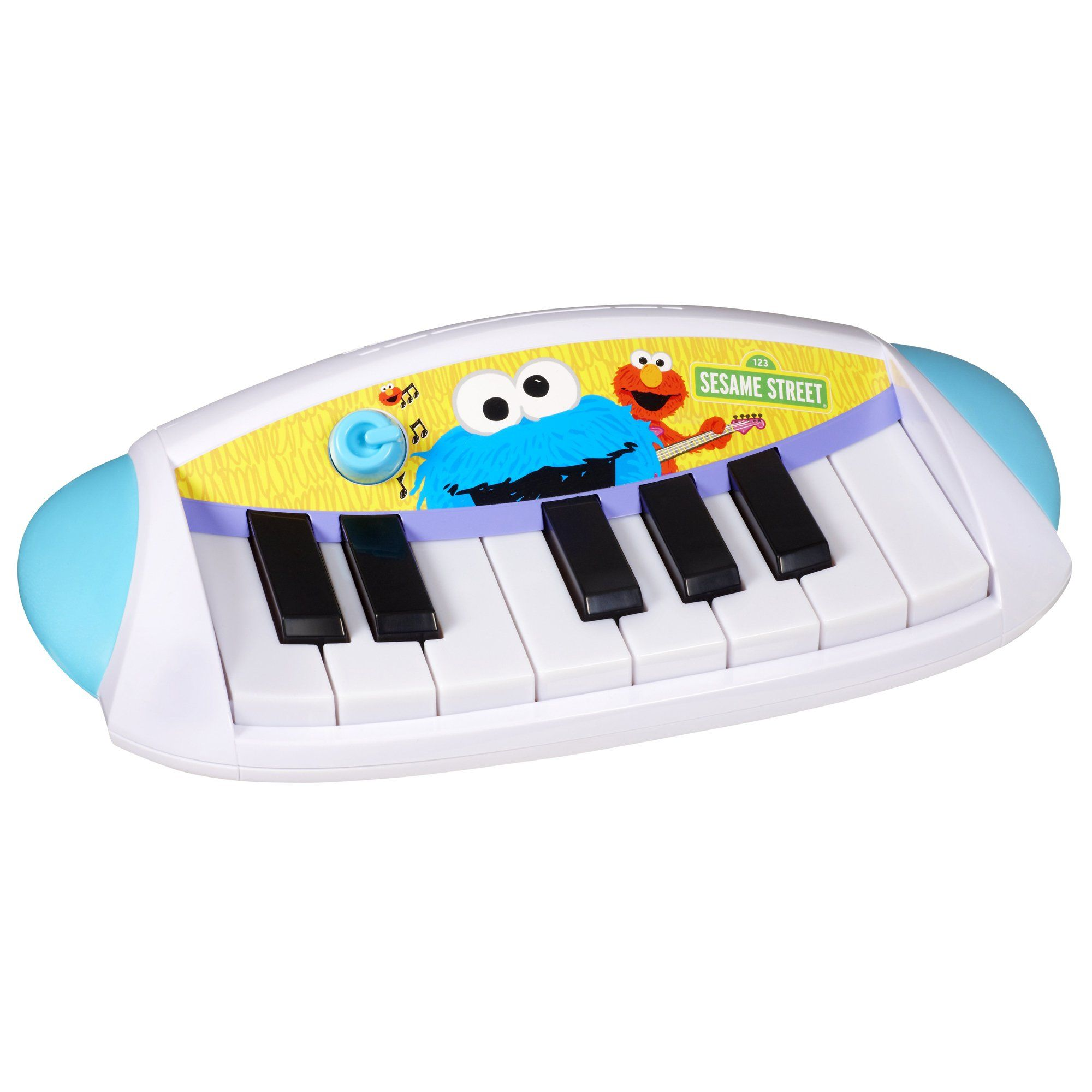 """Playskool Sesame Street Let's Rock! Cookie Monster Keyboard. Packed with fun features, the Cookie Monster Keyboard includes three preschool tunes, three modes of play, and bright, light-up keys. For even more rockin' fun, the Let's Rock Cookie Monster Keyboard also interacts with the Let's Rock Elmo character (sold separately) who """"magically"""" knows when you have the Let's Rock Cookie Monster Keyboard and plays along with you to the """"ABC Song"""". Includes 3 """"AA"""" batteries. Keyboard comes…"""