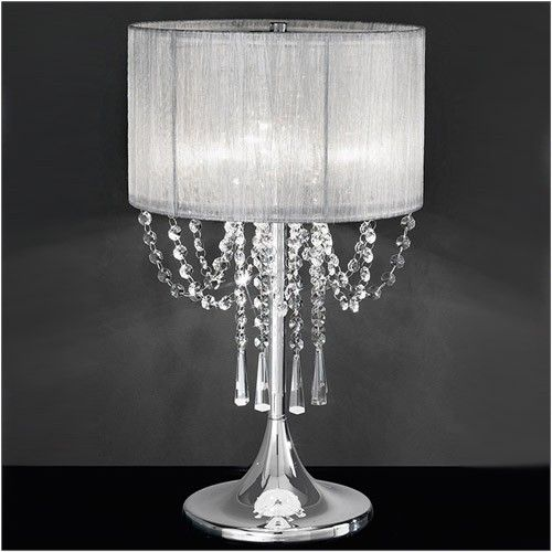 Franklite Empress 3 Light Table Lamp With Crystal And Silver Shade Tl970