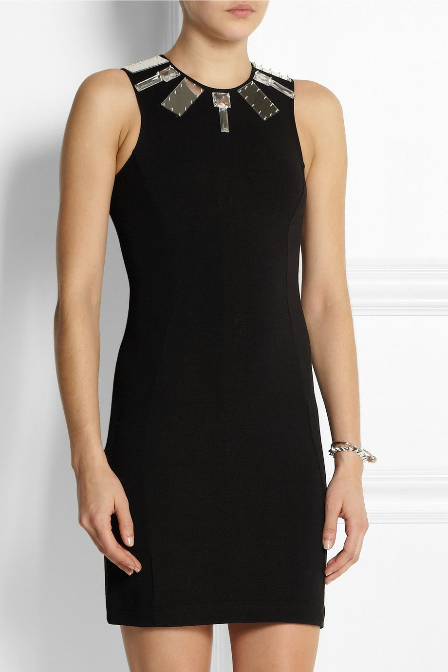 Markus Lupfer Mirror-embellished stretch-jersey mini dress NET-A-PORTER.COM