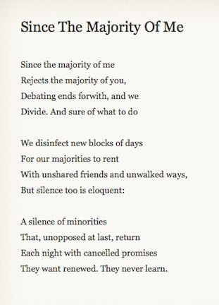 "Philip Larkin, ""Since the Majority of Me"""