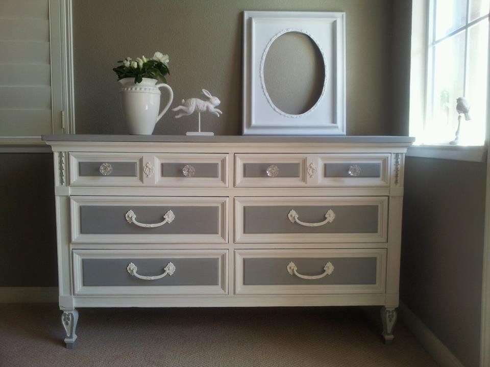 Vintage Dixie 6 drawer dresser/Chalk painted Old Town ...