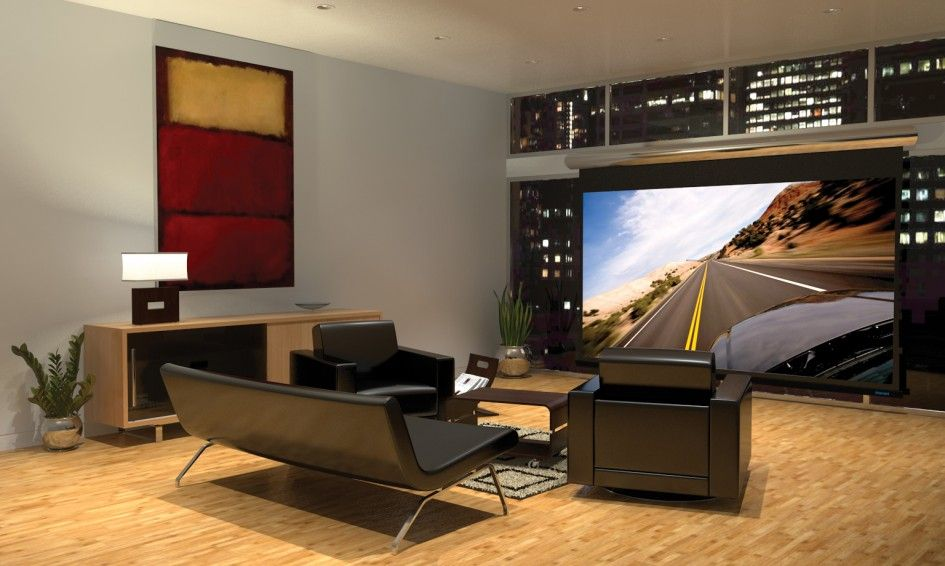 Home Design Modern Home Theater Room With 70 Inch Tv And