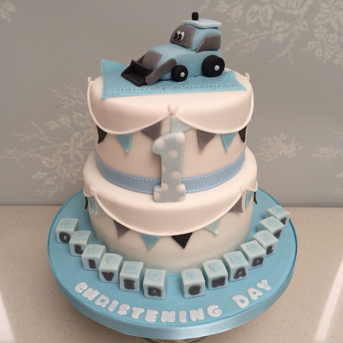 Astonishing Little Boys Joint Christening And 1St Birthday Cake Cute With Personalised Birthday Cards Petedlily Jamesorg