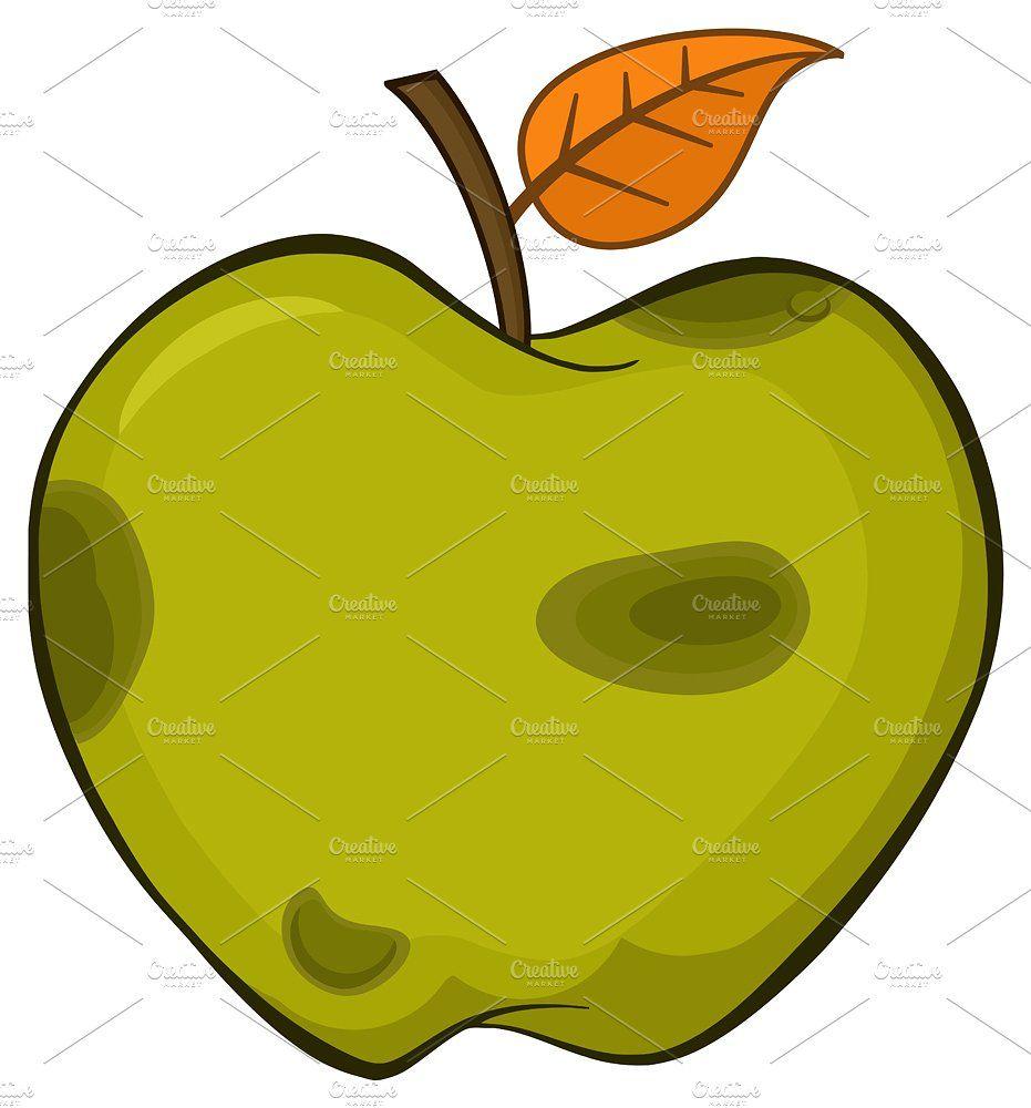Rotten Green Apple Fruit Cartoon Leaf Simple Drawing Branding