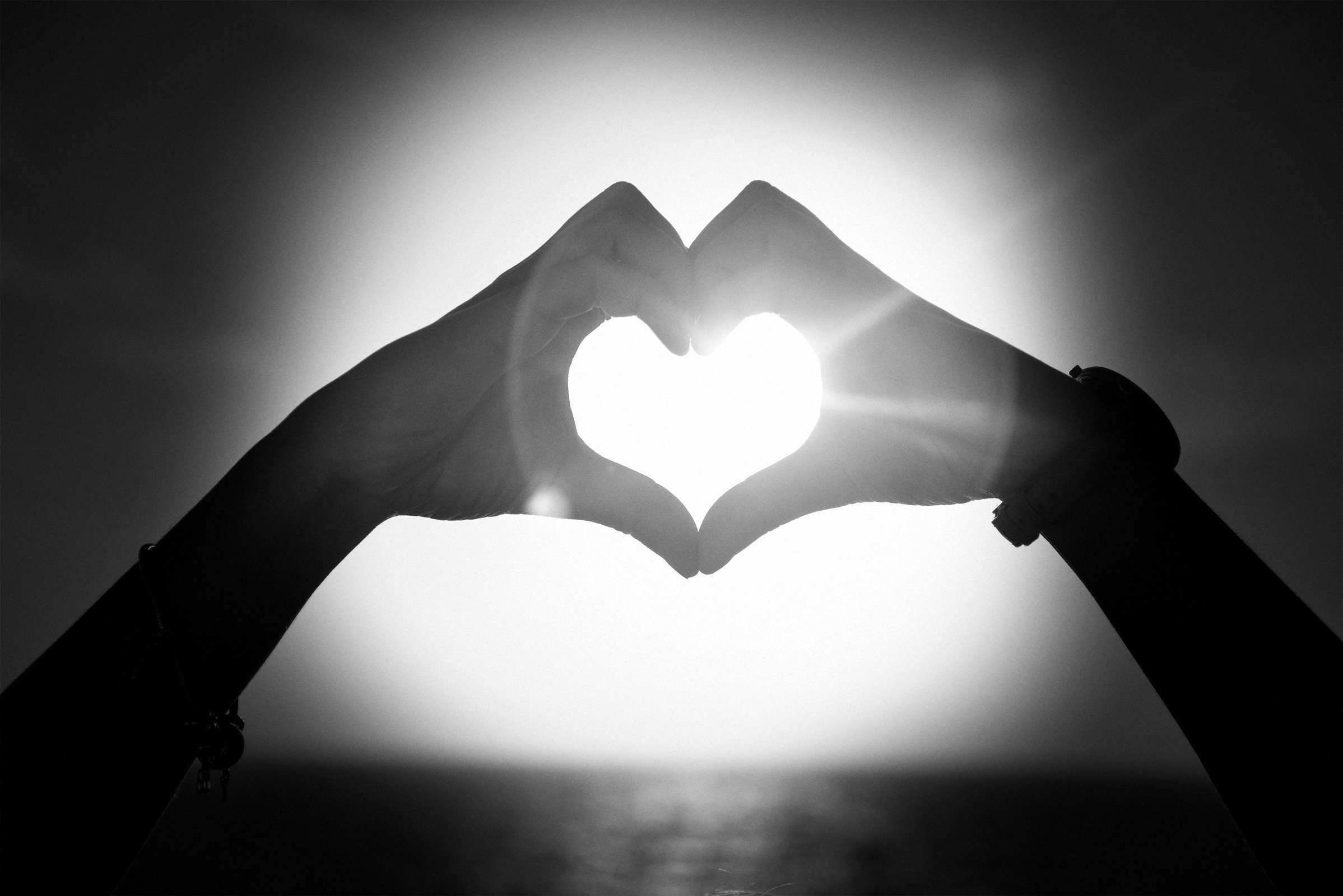 Liebe Herz Schwarz Weiß