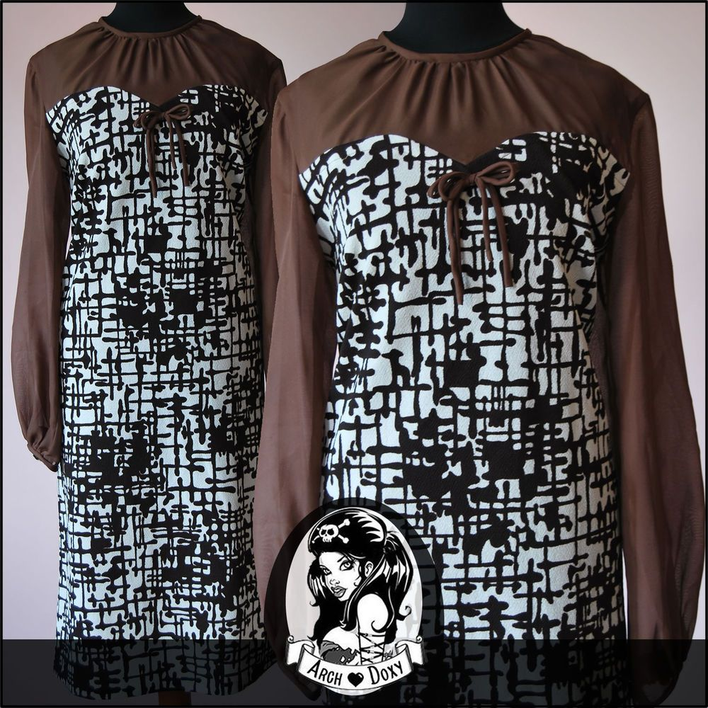 Vintage 1960s Twiggy Brown Print MOD Scooter SKA Chiffon Cocktail Dress Size 16