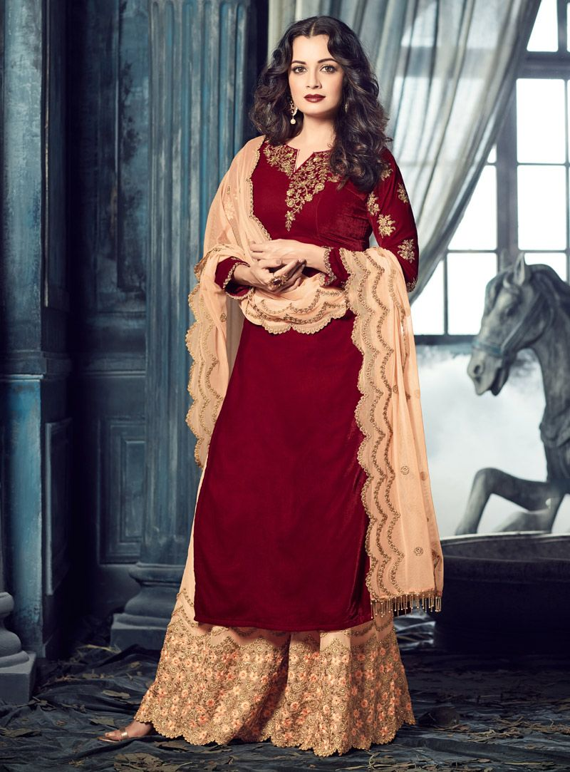 Dia Mirza Maroon Velvet Palazzo Style Salwar Suit 107984 With Images Indian Outfits Indian Dresses