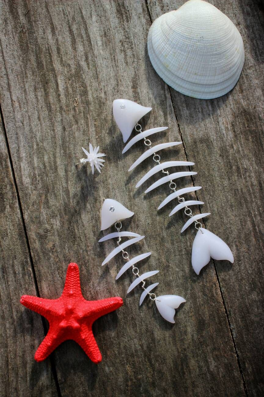 beach summer jewelry trend of 2019 Fish skeleton stud earrings made polymer clay little Echinus stud earrings do your style by yourself