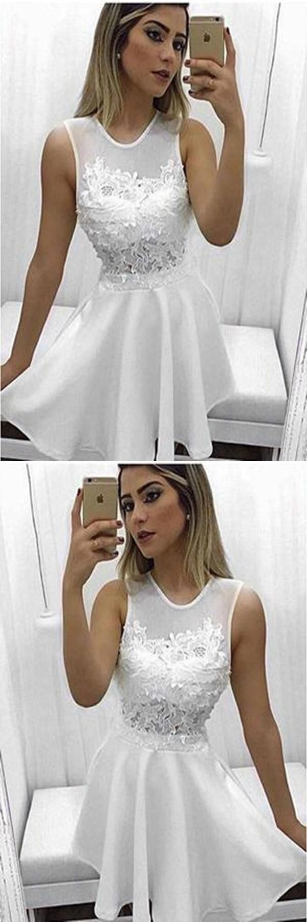 Distinct short prom dresses chic white satin scoop appliques short