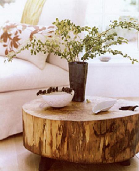 Protagonismo natural decora con troncos troncos for Mesas de troncos de madera