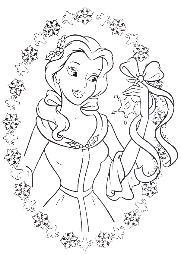 Princess Belle Love To Get Gifts In Christmas Day Coloring Pages Christmas Colori Belle Coloring Pages Disney Princess Coloring Pages Princess Coloring Pages