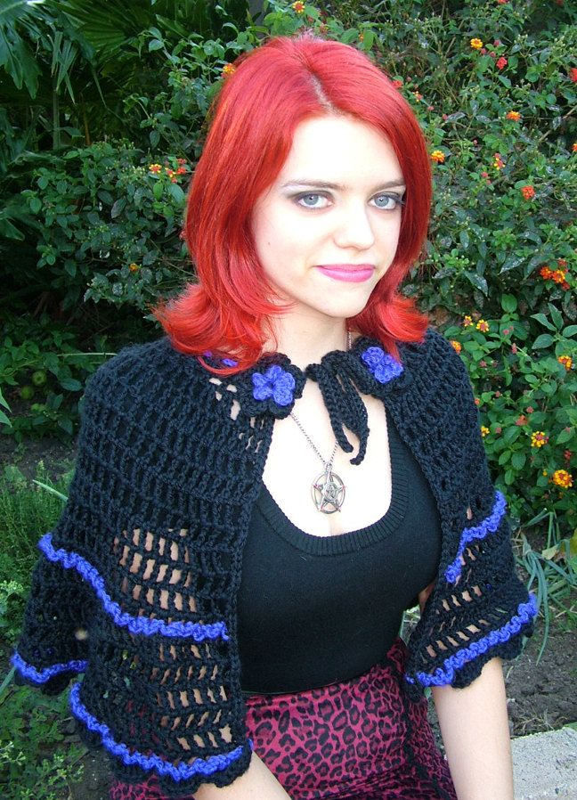 Handmade Victorian Style Gothic Black and Purple Crochet Cape Shawl ...