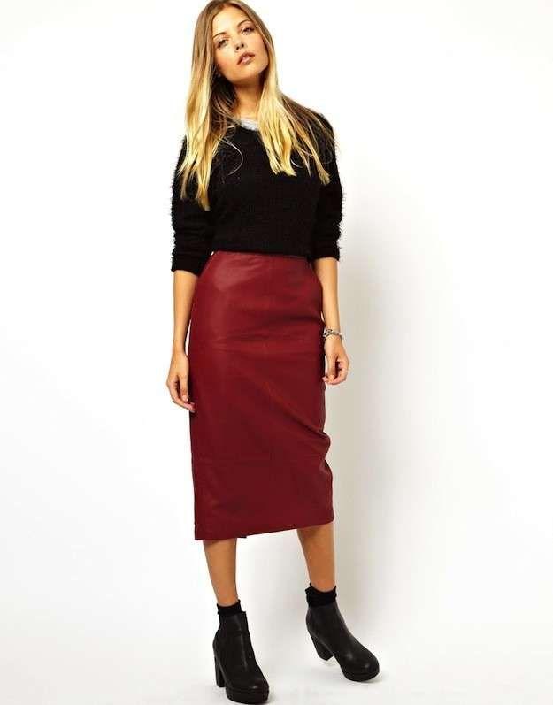 02dea28f6 Cómo combinar la falda de cuero: Fotos algunos modelos - Falda tubo ...
