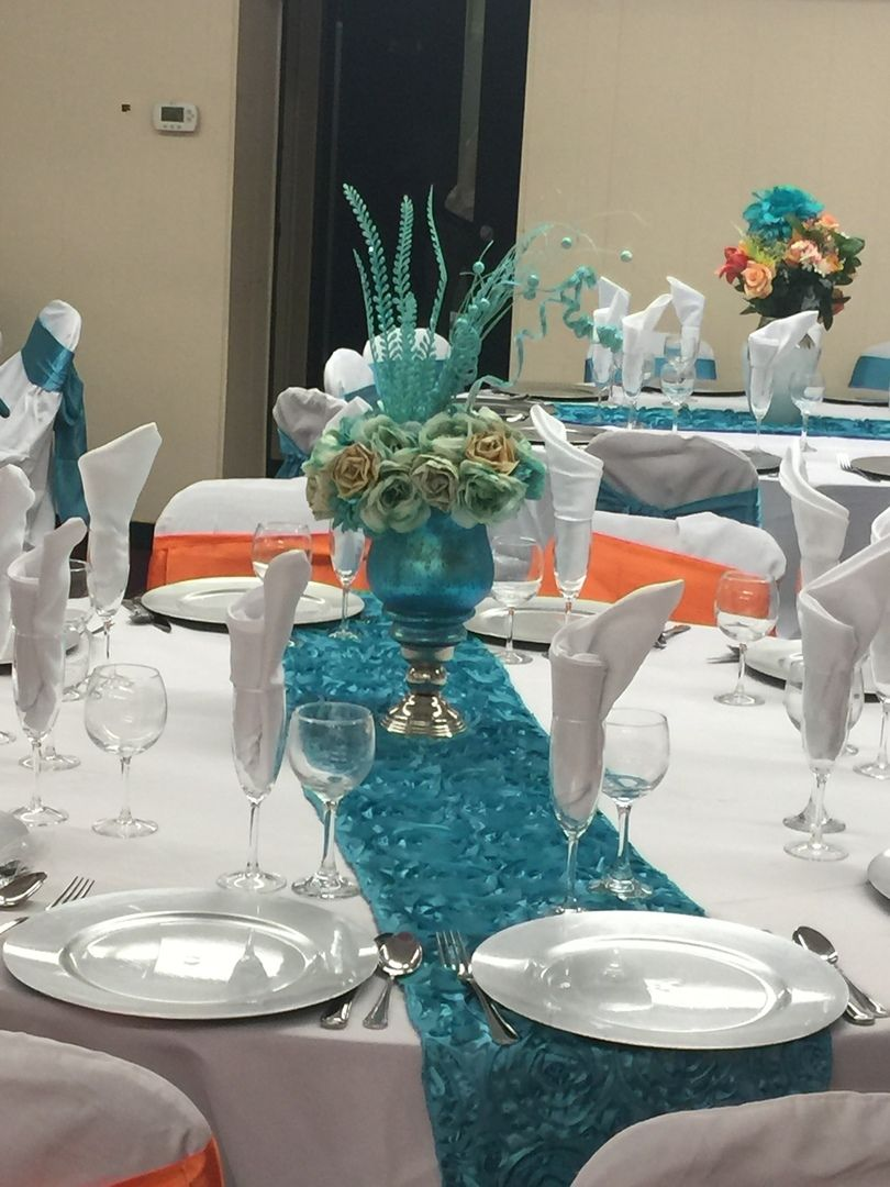 14 X108 Turquoise Grandiose Rosette Satin Table Runner In 2020 Wedding Table Settings Silver Table Settings Table Decorations