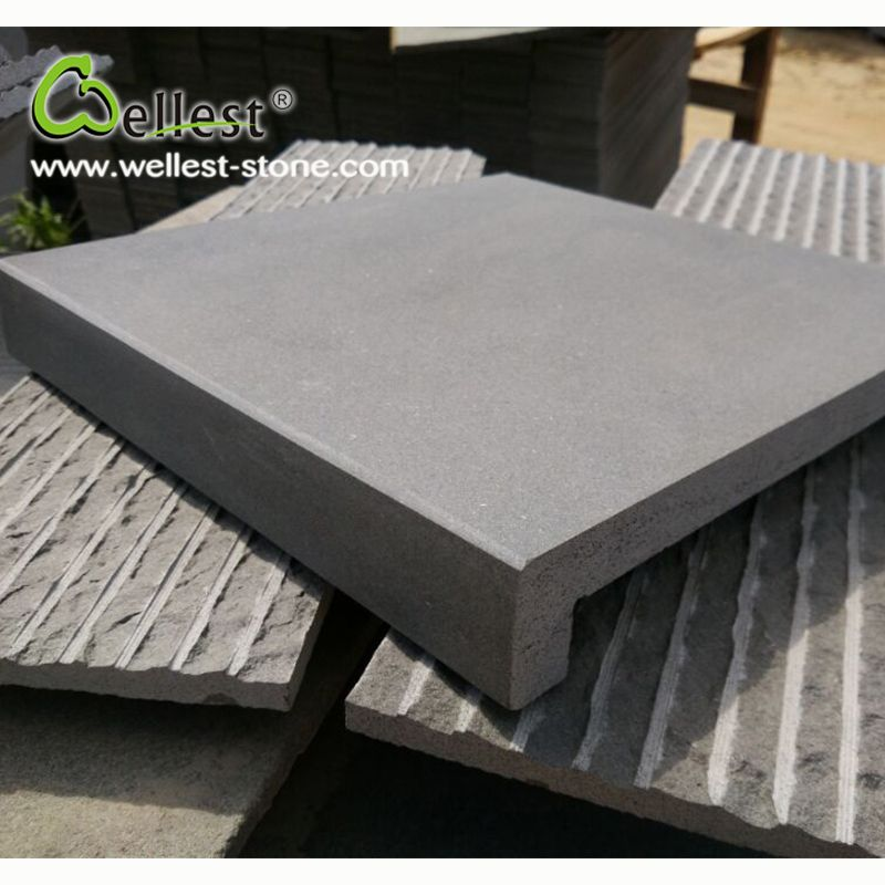 Hainan Dark Grey Basalt Swimming Pool Coping Tile Straight ...