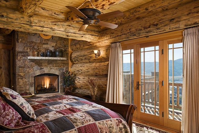 Cozy Up To A Fire Before Going To Bed Montana Log Homes:: The Handcrafted