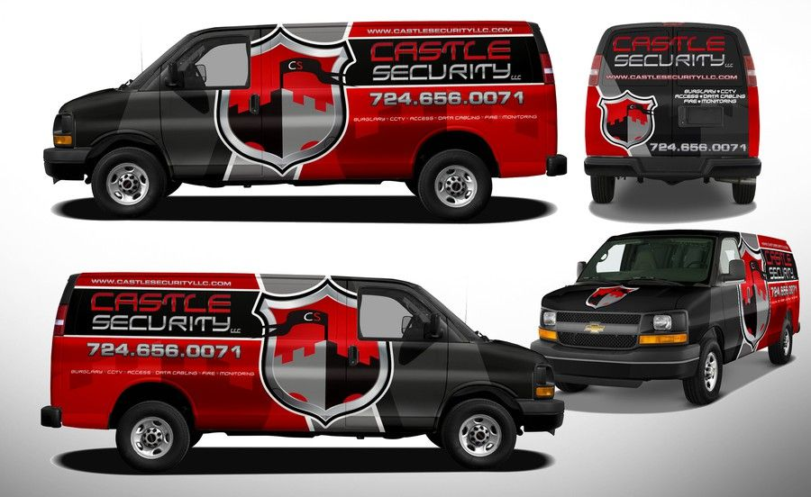 Create A Van Wrap For A Home And Business Security Company By J Chaushev Business Design Business Security Security Companies