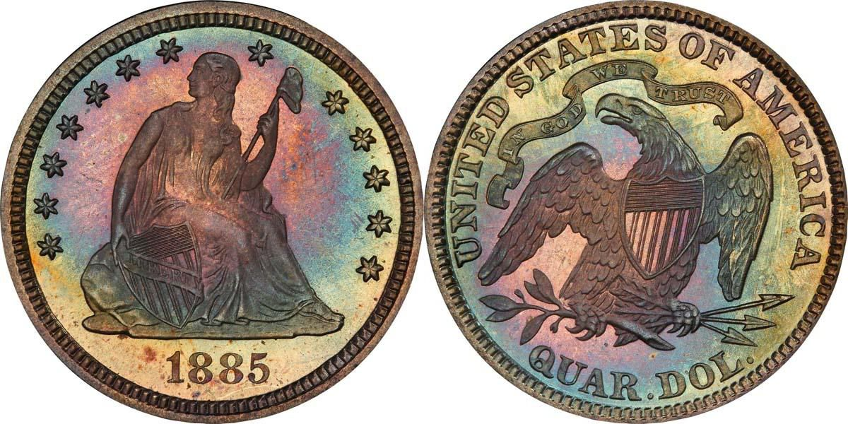 1885 Liberty Seated Quarter PCGS PR67+ CAC (EST: $6,000.00+, No Reserve) | READ MORE AND BID NOW: http://www.legendmorphyauctions.com/search/details/c/Classic_U.S._Coins/g/Quarters?id=102083&lotId=2552