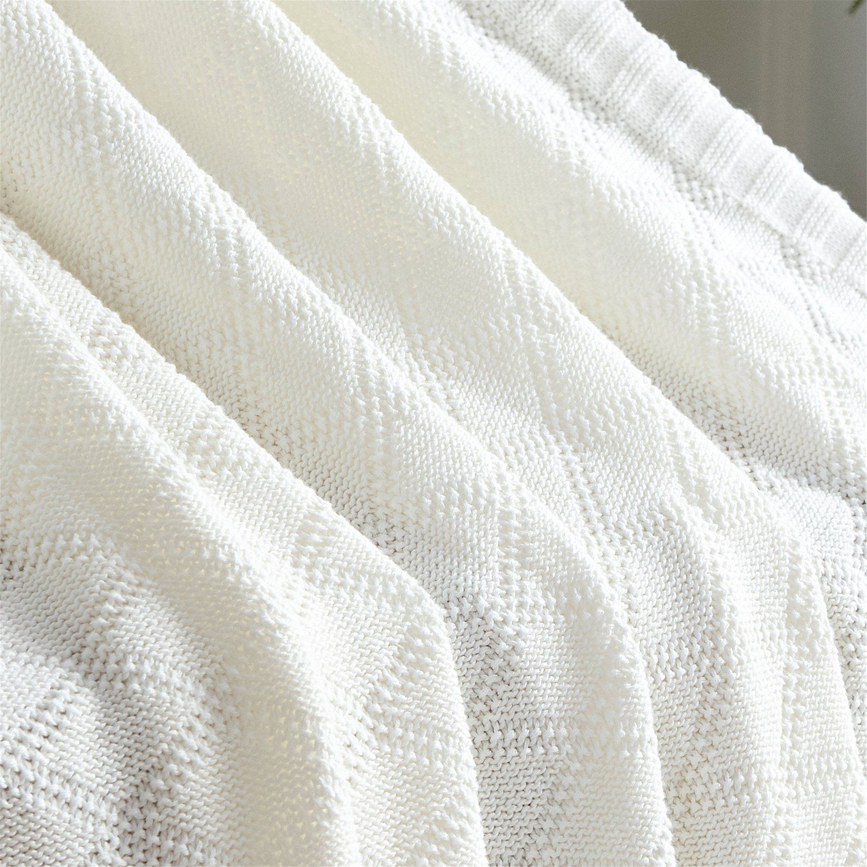 Longhui Bedding White Cotton Throw Blanket For Couch Sofa Chair Soft Warm Cable Knit Decorative Bla Cable Knit Throw Blanket Throw Blanket Cotton Throw Blanket Cotton throws for sofas