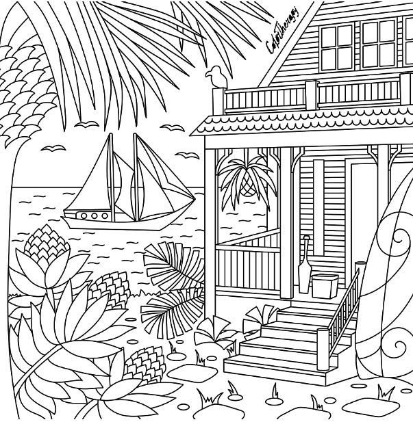 Beachside Color Therapy App Try This App For Free Get Colortherapy Me Beach Coloring Pages Coloring Pages Cute Coloring Pages