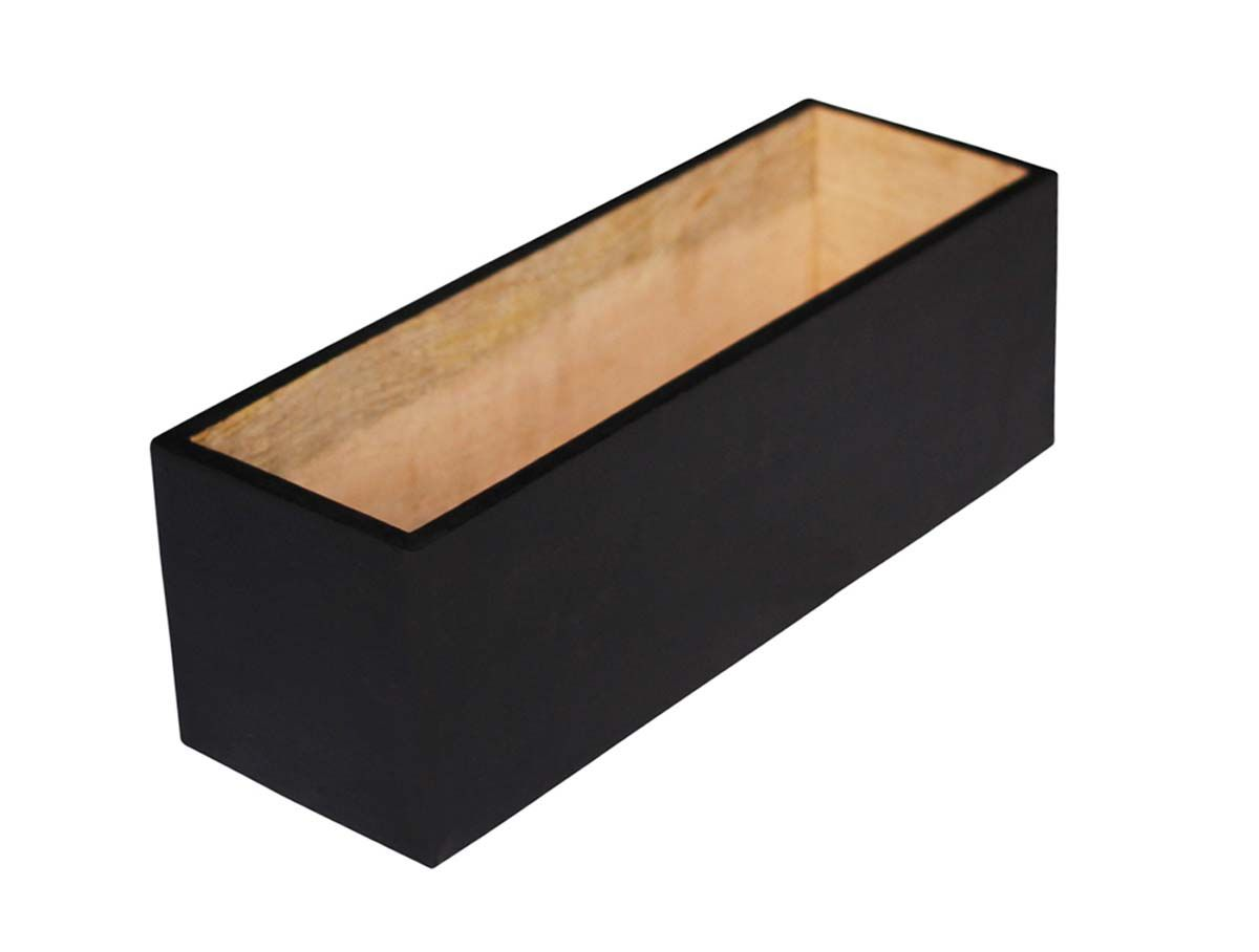 Bulk Wholesale Long Rectangular 12x4x4 5 Wooden Planter For Artificial Plants Hand Painted Black Decorative Plant Pot Decoration Plant Decor Wood Planters