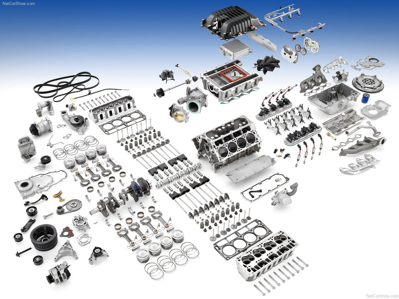 All of the parts that go into a Camaro ZL1 engine. [1280 x 960 ...