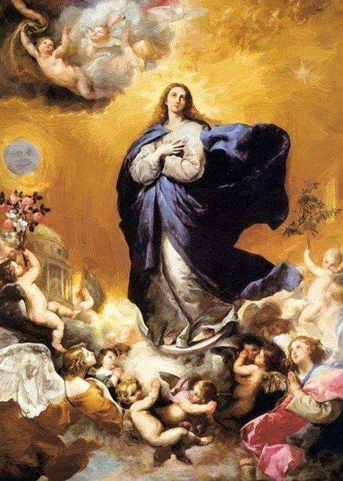 """Handpainted Oil painting our mother god of MARY The assumption with angels 36/"""""""