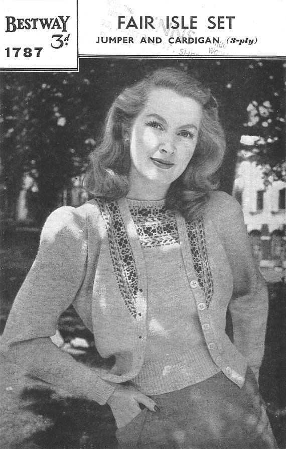 b9519347c 1940s Knitting Pattern for Womens Fair Isle Jumper and Cardigan ...