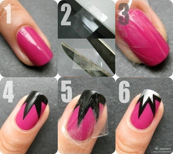 Cool silver half star motif with black line in pink nail art cool silver half star motif with black line in pink nail art design tutorial with scotch prinsesfo Choice Image