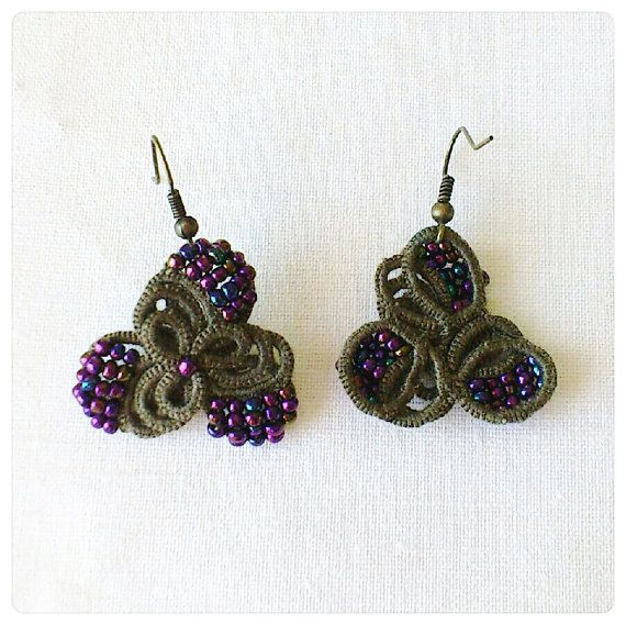 Khaki Purple Tatted Lace Beaded Earrings от LaceLounge
