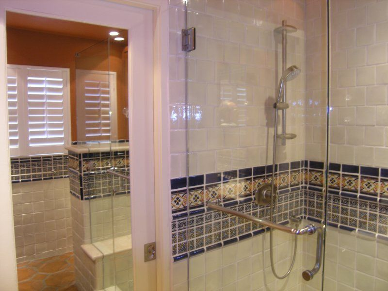 Mexican Tile Liner In A Bathroom Shower Area Home Decor Gallery Mission Accesories Copper Sinks Mirrors Tables And