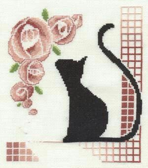 Black cats smelling pink roses. Needlepoint style.