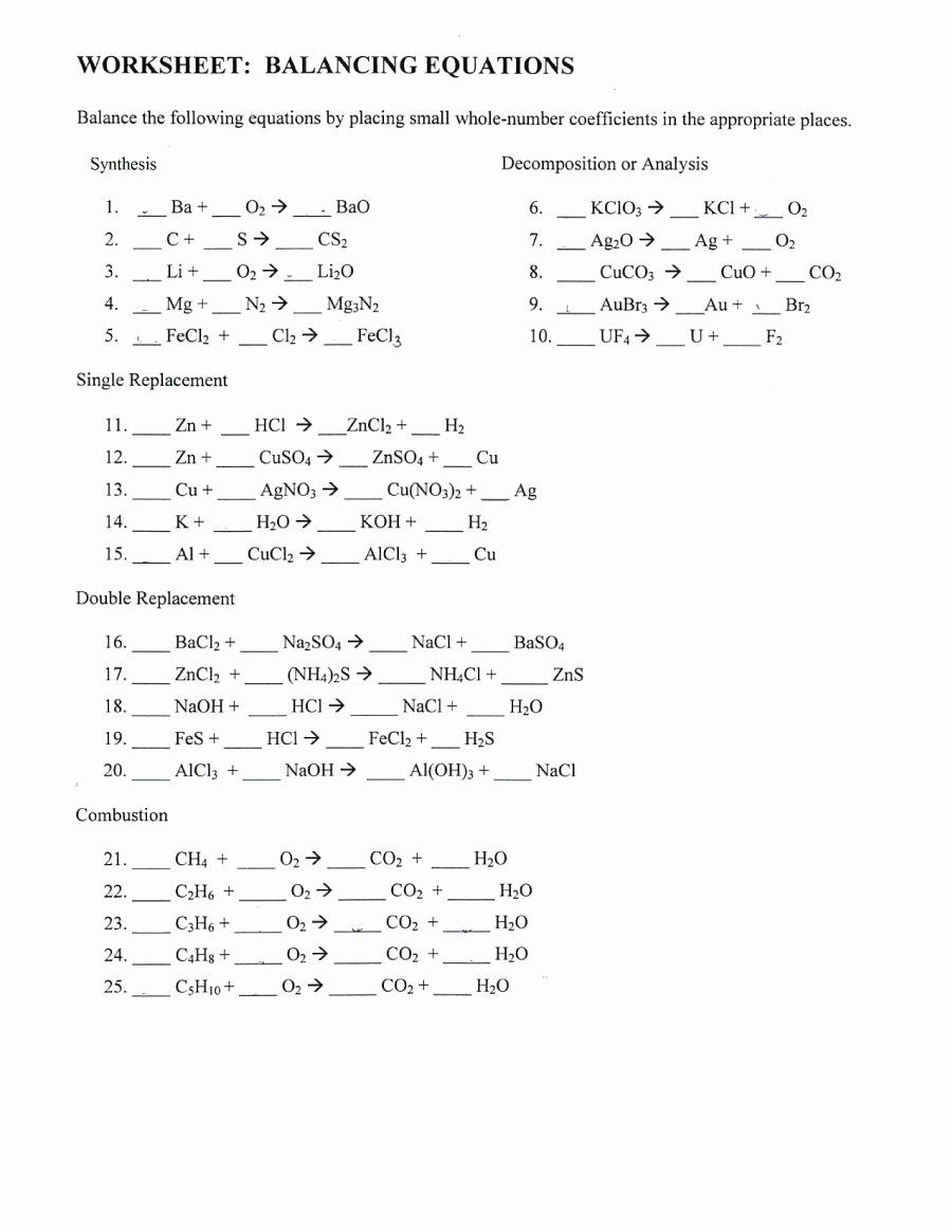 Balancing Equations Worksheet Answers Lovely 49 Balancing Chemical  Equations Worksheets with Answer…   Chemistry worksheets [ 1165 x 900 Pixel ]