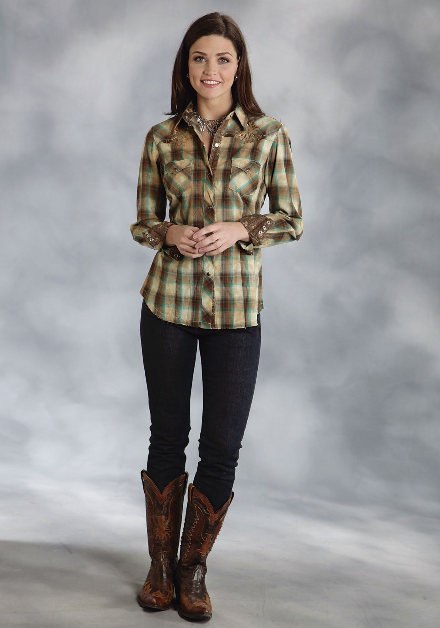 687bdbd7 Roper® Women's Brown Plaid Embroidered Snap LS Western Shirt | my ...