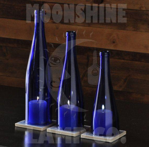 hnliche artikel wie blauem glas flasche kerzenlampe auf. Black Bedroom Furniture Sets. Home Design Ideas