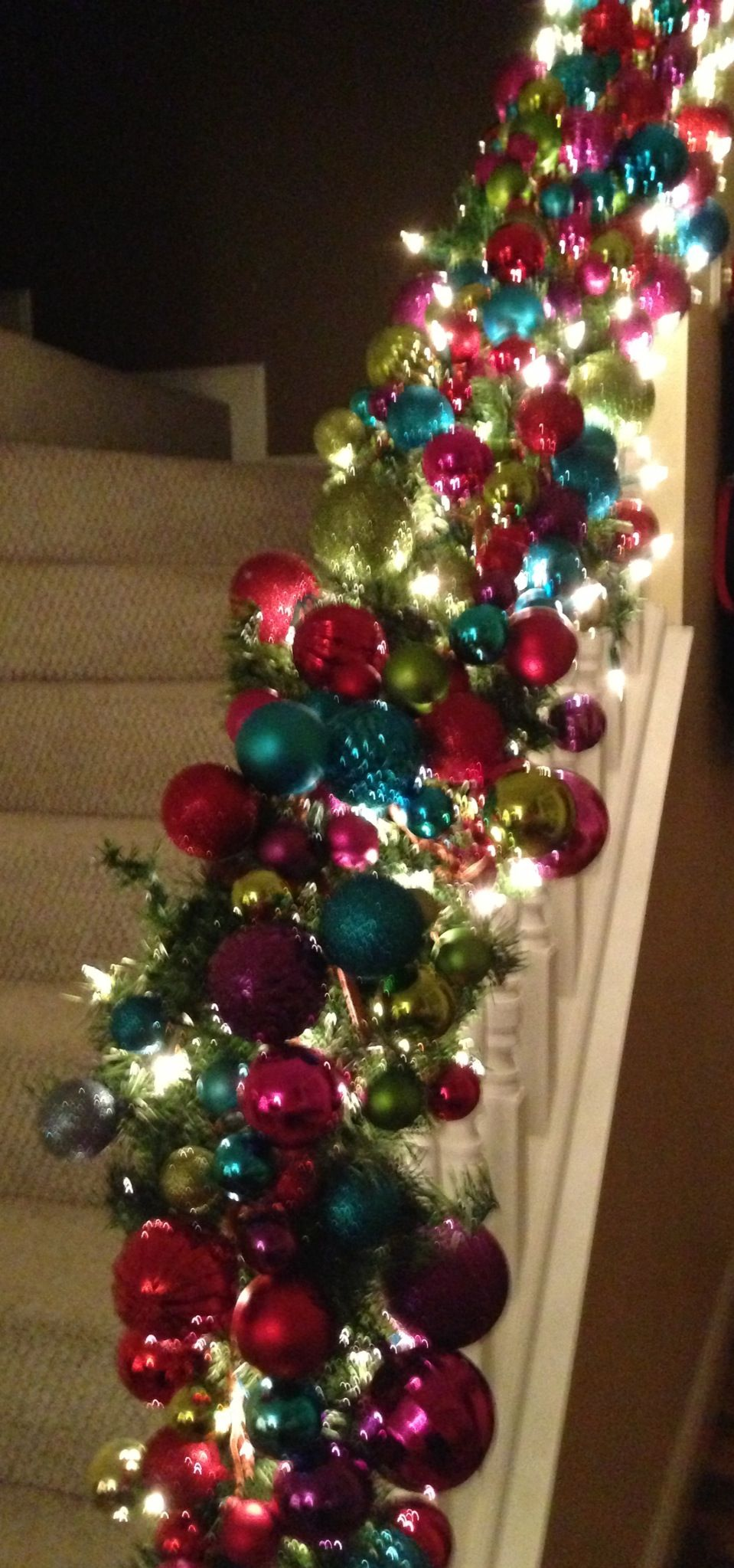 Winter Christmas Stair Rail Decorations