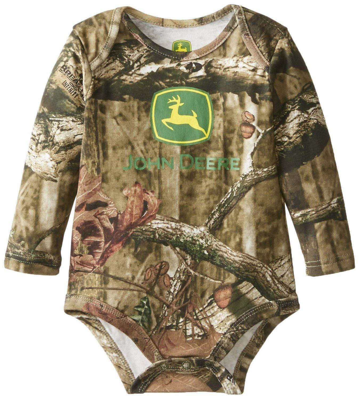 John Deere Baby Boys Newborn Long Sleeve Trademark Bodyshirt Mossy